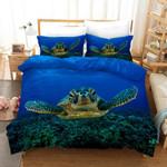 3d Blue Sea Turtle Under Ocean Bedding Set Bedroom Decor