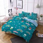 Rainbow Cloud Flower Printed Bedding Set Bedroom Decor