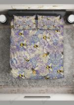 Purple Flowers And Bee Printed Bedding Set Bedroom Decor