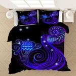 Twelve Constellations Aquarius Neon Blue Bedding Set Bedroom Decor