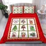Merry Christmas Tree Gift And Flowers Bedding Set Bedroom Decor