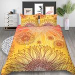 Warm Sunflower Artwork Printed Bedding Set Bedroom Decor