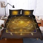 3d Gold Plates Sun And Moon Pattern Bedding Set Bedroom Decor