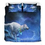 Wolf With Blue Necklace Bedding Set Bedroom Decor