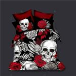 Skull With Red Rose Printed Bedding Set Bedroom Decor