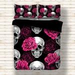 Rose Skull Black Bedding Set Bedroom Decor
