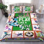 Football Soccer Women Usa Proud To Play Like A Girl Bedding Set Bedroom Decor