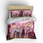 Pink Unicorn Couple Dreamlike Printed Bedding Set Bedroom Decor