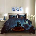 Halloween Style Black Cat Printed Bedding Set Bedroom Decor