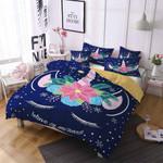 Unicorn With Horn Flower Pattern Printed Bedding Set Bedroom Decor