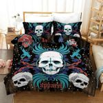 3D Three White Skulls Flower Printed Bedding Set Bedroom Decor