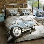 Vintage Blue Scooter Bold Bedding Set Bedroom Decor