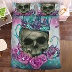 Colorful Roses And Skull Head Printed Bedding Set Bedroom Decor