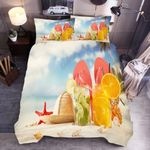 Straw Hat Flip Flop Drink Starfish Bedding Set Bedroom Decor