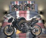 Motorbike 3d Photo Uk Flag Bedding Set Bedroom Decor