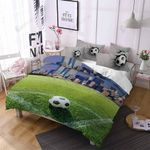 Soccer Ball On Football Pitches Printed Bedding Set Bedroom Decor