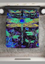 Peacock Pattern Dragonfly Bedding Set Bedroom Decor
