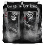 His Queen Her King Skull Playing Card  Bedding Set Bedroom Decor