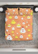 Happy Chicken Family Pattern Printed Bedding Set Bedroom Decor