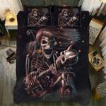 Rock Skull Couple Printed Bedding Set Bedroom Decor