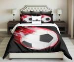 Football On Red Fire Design On Black   Bedding Set Bedroom Decor