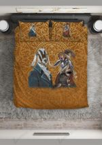 Goat Lady And Gentlemen Beige Printed Bedding Set Bedroom Decor