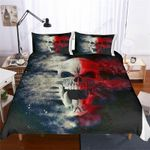 Gray Red Skull Bedding Set Bedroom Decor
