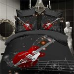 Music Notes Guitar Red Best Gifts For Play Music Lovers Printed Bedding Set Bedroom Decor