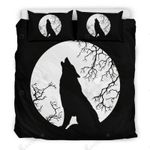 Wolf Howling At The Full Moon Printed Bedding Set Bedroom Decor
