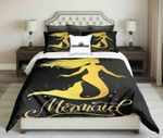 Golden Mermaid On Black Background  Bedding Set Bedroom Decor