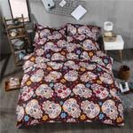 Floral Background Sugar Skull Pattern Bedding Set Bedroom Decor