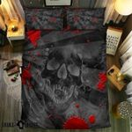 Skull Face And Red Blood Printed Bedding Set Bedroom Decor