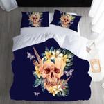 Deep Blue Sea And Skull Face Printed Bedding Set Bedroom Decor