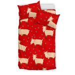 Red Goats Bedding Set Bedroom Decor