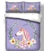 Face Of Character Unicorn With Beautiful Flowers  Bedding Set Bedroom Decor