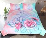 Unicorn And Rose Cartoon For Kids Printed Bedding Set Bedroom Decor