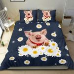 Happy Pig Wearing Red Bow With Daisy Flowers  Bedding Set Bedroom Decor