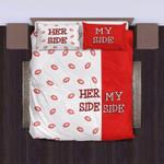 My Side Her Side Red White Lips  Bedding Set Bedroom Decor