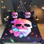 Floral Geometric Skull Bedding Set Bedroom Decor