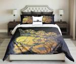 Golden Skull Queen On Black Bluish Background  Bedding Set Bedroom Decor
