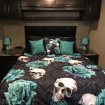Just Love Skull With Turquoise Roses  Bedding Set Bedroom Decor