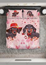 Dachshund You'Re My Valentine Printed Bedding Set Bedroom Decor