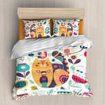 Orange Cat Bedding Set Bedroom Decor