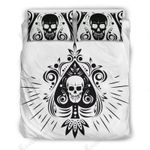 Skull Tattoo Design White Printed Bedding Set Bedroom Decor