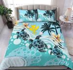 Turtles And Flowers  Coconut Tree  Bedding Set Bedroom Decor