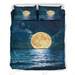 Full Moon Rising Above The Ocean Printed Bedding Set Bedroom DecorBedding Set