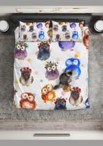 Watercolor Cute Owl Pattern Printed Bedding Set Bedroom Decor
