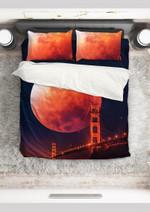 Golden Gate Under Red Moon Adorable Bedding Set Bedroom Decor