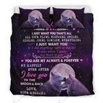 Love To My Wife I Love You To The Moon And Back Bedding Set Bedroom Decor
