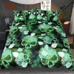 Skull Marine Shells Green Squama Printed Bedding Set Bedroom Decor